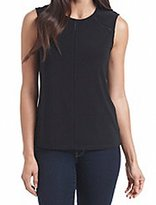 Anne Klein Women's Sleeveless Top with Ladder-Stiched Insets