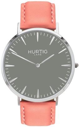 Hurtig Lane Mykonos Vegan Leather Watch Silver/Grey/Coral