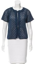 Piazza Sempione Open-Embroidered Short Sleeve Jacket
