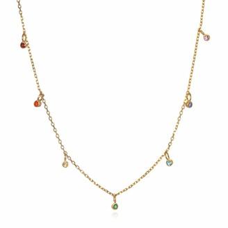 Satya Jewelry Multi Gemstone Gold Chakra Choker Necklace (14 Inch +2 Inch Ext)