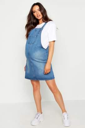 boohoo Maternity Denim Pinafore Dress