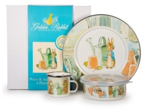 Golden Rabbit Peter and the Watering Can Enamelware Collection 3 Piece Kids Dinner Set