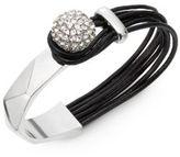 Saks Fifth Avenue Leather Pavé Wrap Bracelet/Black