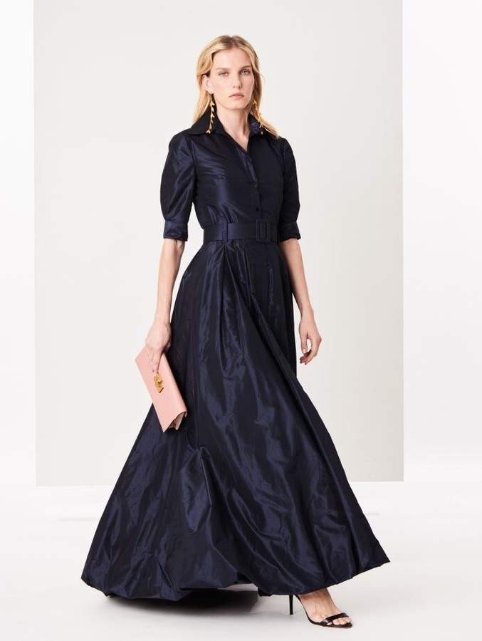 Oscar de la Renta Navy Silk-Taffeta Gown