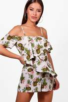 boohoo Petite Lucy Floral Ruffle Detail Woven Playsuit