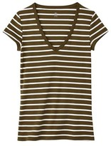Petit Bateau Womens V-neck tee in sailor-striped cotton