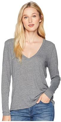 Alternative Long Sleeve Slinky V-Neck (Ash Heather) Women's Clothing