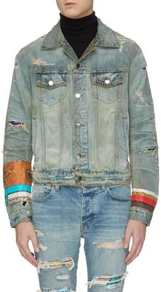 Amiri Scarves patch distressed denim trucker jacket