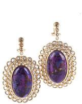 NEW RARITIES 14k Gold Vermeil Purple Mohave Turquoise White Zircon Drop Earrings