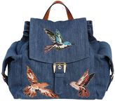 RED Valentino Cotton Denim Backpack W/ Bird Patches