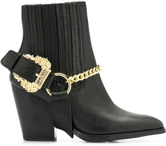 Versace chain embellished ankle boots