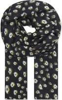 The Kooples Leopard Print Wool Blend Scarf