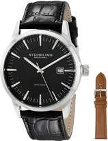 Stuhrling Original Men's 555A.01 Classic Ascot II Swiss Quartz Date Black Dial Strap Set Watch