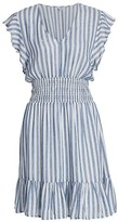 Thumbnail for your product : Rails Tara Ruffle Stripe Linen-Blend Mini A-Line Dress