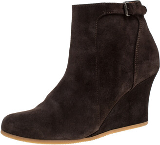 Lanvin Brown Suede Zip Wedge Ankle Boots Size 37.5