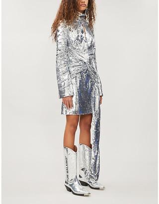 16Arlington 16 ARLINGTON Asymmetric sequinned mini dress