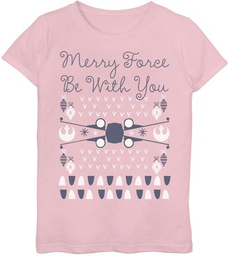 Star Wars Girls 7-16 X-Wing Ugly Christmas Graphic Tee