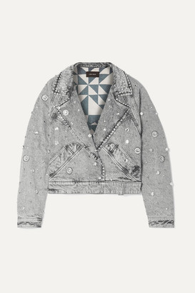 Isabel Marant Ria Cropped Embellished Stonewashed Denim Jacket - Light gray