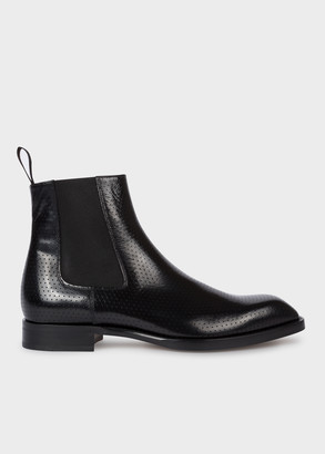 Paul Smith Men's Black High-Shine Perforated Leather 'Stealth' Boots