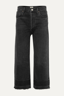 Citizens of Humanity Sacha Frayed Cropped High-rise Wide-leg Jeans - Black