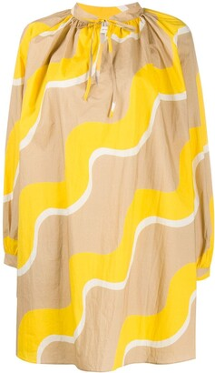 Chinti and Parker Wave-Print Tie-Neck Dress