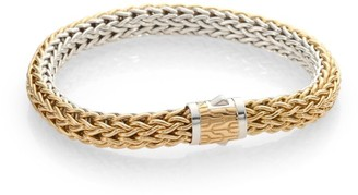 "John Hardy Classic Chain 18K Yellow Gold & Sterling Silver Reversible Woven Bracelet/0.3"""