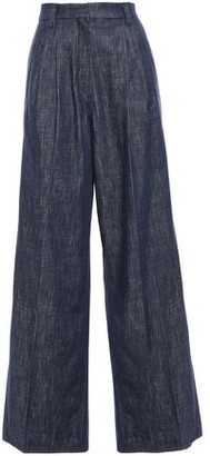 Brunello Cucinelli Pleated Bead-embellished High-rise Wide-leg Jeans