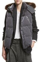 Brunello Cucinelli Velvet Puffer Vest with Fur-Trim Hood