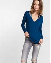Express One Eleven Long Sleeve Slash Neck Tee