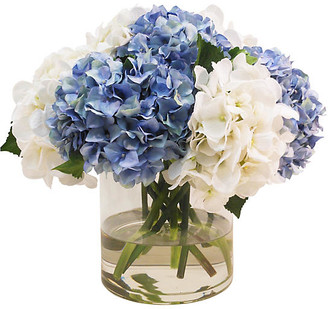 """17"""" Hydrangea in Cylinder Vase - Faux - The French Bee - arrangement, white/blue; vessel, clear"""