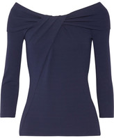 Michael Kors Off-the-shoulder Twist-front Stretch-jersey Top - Navy