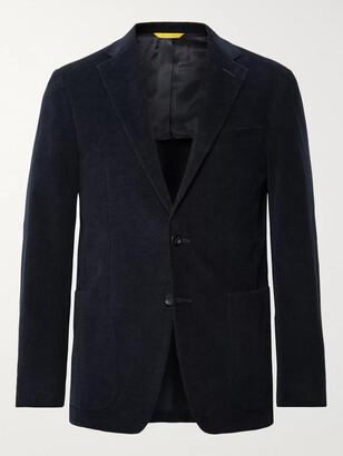 Canali Midnight-Blue Kei Slim-Fit Textured Stretch-Cotton Velvet Blazer