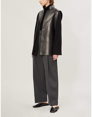 The Row Frieden sleeveless leather jacket