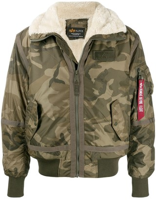 Alpha Industries Camouflage Print Bomber Jacket