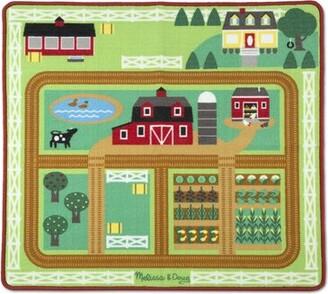 Melissa & Doug Round the Barnyard Farm Green Area Rug