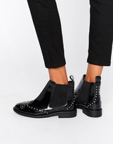 Asos ANDELE Leather Studded Chelsea Boots