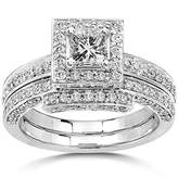 JeenJewels Luxurious Halo Matching Bridal Ring Set 2 Carat Diamond on 14k Gold