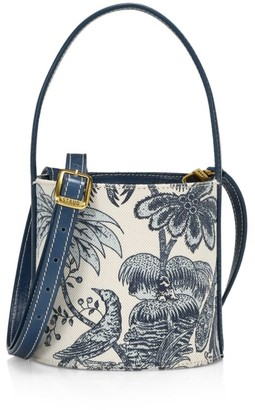 STAUD Mini Bissett Printed Leather Bucket Bag