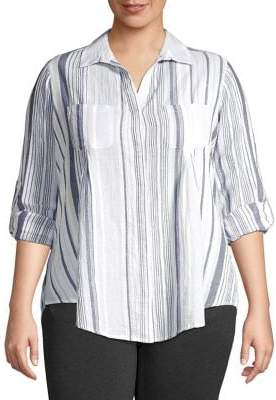 Lord & Taylor Plus Striped Button-Front Shirt