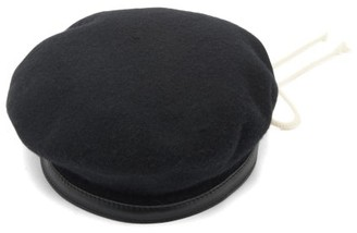 Ann Demeulemeester String-bow Leather-trimmed Wool Beret - Womens - Black