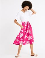 Marks and Spencer Floral Print Tie Front A-Line Midi Skirt
