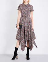 Alexander McQueen Handkerchief-hem tweed midi dress