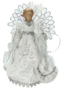 "Northlight 13"" Lighted Fiber Optic Angel with White Gown Christmas Tree Topper"