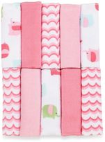 Bed Bath & Beyond Just Bath by Just BornTM Love to Bathe 10-Pack Knit Washcloth in Elephant/Pink and White