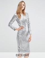 Club L Midi Dress in Sequin Placement with Long Sleeve