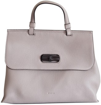 Gucci Bamboo Grey Leather Handbags