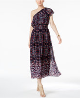 Vince Camuto Printed One-Shoulder Maxi Dress