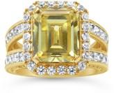 Judith Ripka 14K Clad 6.65cttw Yellow & White Diamonique Ring