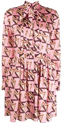MSGM Geometric Print Pussy Bow Dress