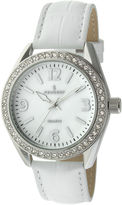 Peugeot Womens Crystal-Accent White Leather Strap Watch 3006WT